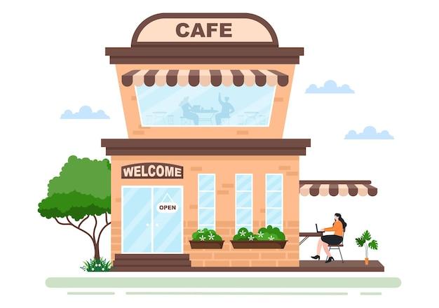 Illustratie van café of koffiehuis