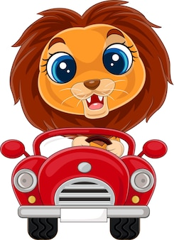 Illustratie van cartoon babyleeuw die rode auto bestuurt