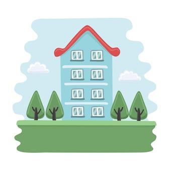 Illustratie van cartoon blauw huis