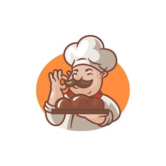 Illustratie van cartoon chef met zijn brood