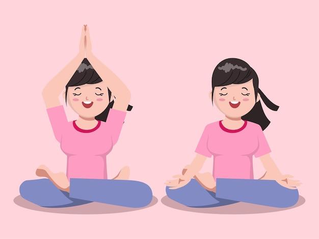 Illustratie van cartoon cute girl in yoga karakter poseren voor gezond Premium Vector