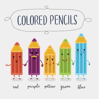 Illustratie van cartoon gekleurde schattige potloden karakters