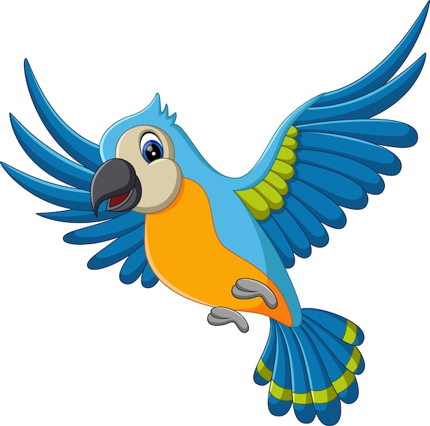 Illustratie van cartoon grappige ara vliegen