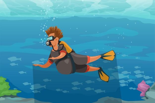 Illustratie van cartoon grappige man in wetsuit met scuba-uitrusting in tropische onderwaterwereld