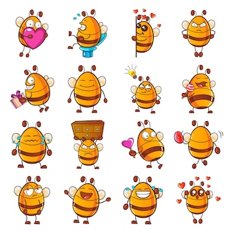 Illustratie van cartoon honey bee set