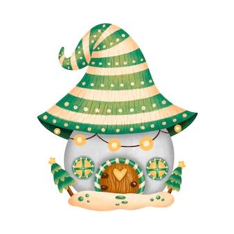 Illustratie van cartoon kerst gnome huis