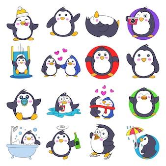 Illustratie van cartoon leuke pinguïn set