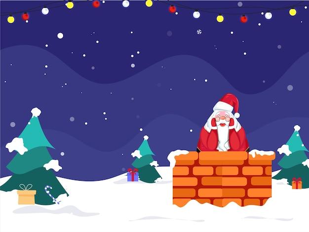 Illustratie van cartoon santa claus binnen schoorsteen met kerstbomen