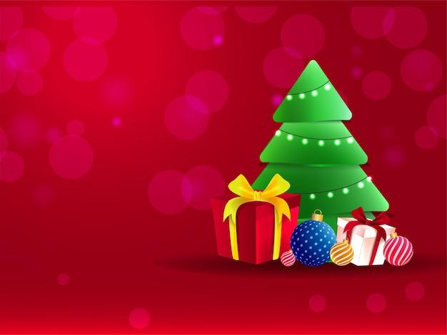 Illustratie van cartoon sneeuwpop met realistische geschenkdozen, kerstballen en decoratieve kerstboom op rode bokeh achtergrond.