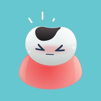 Illustratie van cartoon tandbederf op de blauwe achtergrond