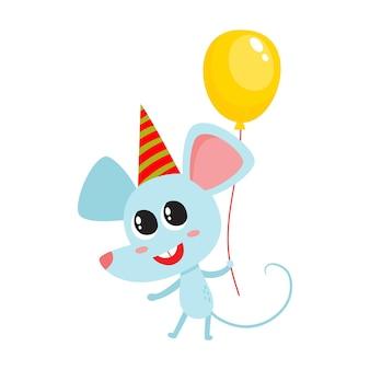 Illustratie van cartoon vakantie grappige muis, muis karakter met ballon voor verjaardag