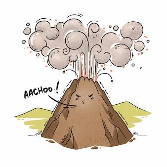 Illustratie van cartoon vulkaan niezen asuitbarsting