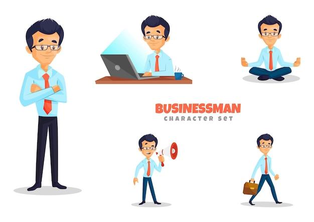 Illustratie van cartoon zakenman tekenset