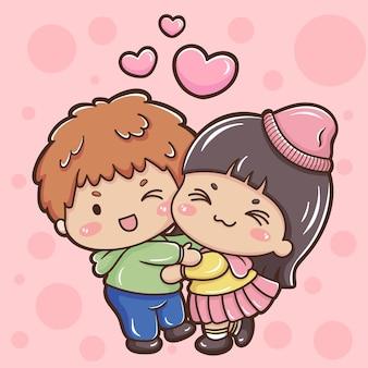 Illustratie van cartoonpaar in valentijnsdag