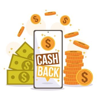 Illustratie van cashbackconcept met geld en muntstukken