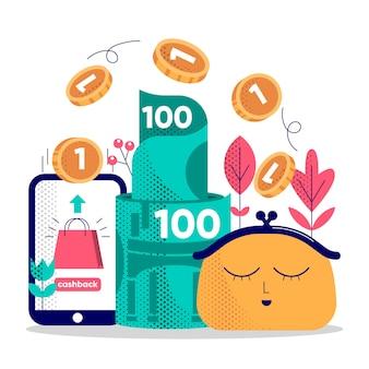 Illustratie van cashbackconcept met muntstukken
