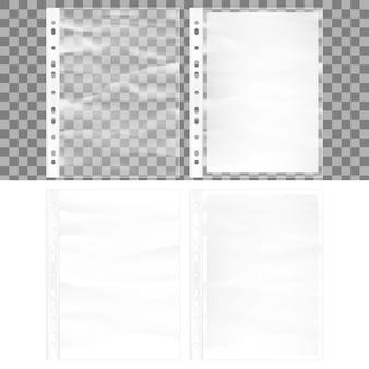 Illustratie van cellofaan zakformaat zakmodel. documentbeschermer en blanco vel wit a4-papier in doorzichtige plastic hoes.