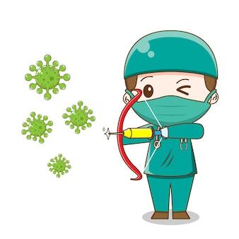 Illustratie van chibi-arts die chirurgiekostuum tegen geïsoleerd virus draagt