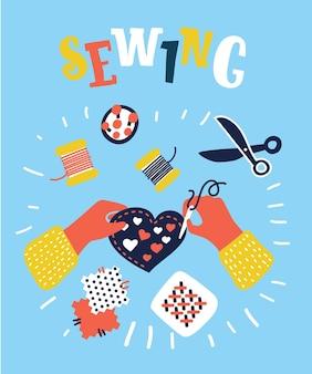 Illustratie van childs handen met ambachtelijke hart en naald om te naaien en hand belettering kalligrafische