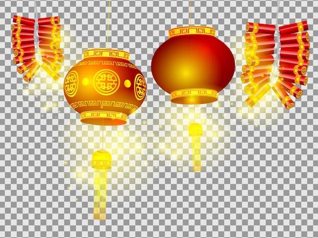 Illustratie van chinese lantaarns en vuurwerk
