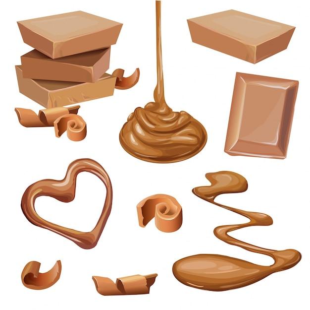 Illustratie van chocolade in tegel, spaanders, vloeistof.