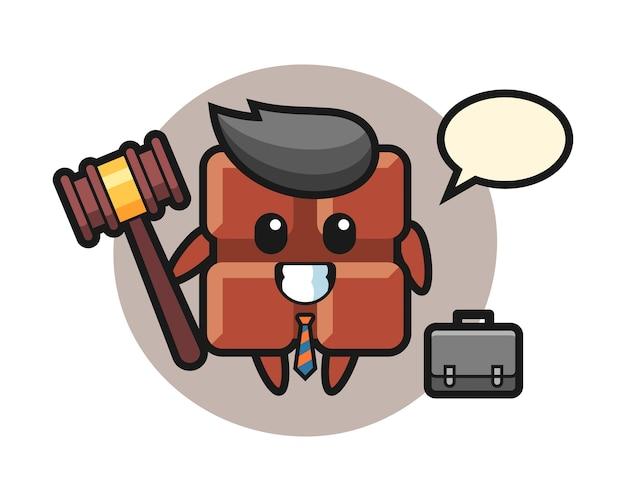 Illustratie van chocoladereepmascotte als advocaat, leuke kawaiistijl.