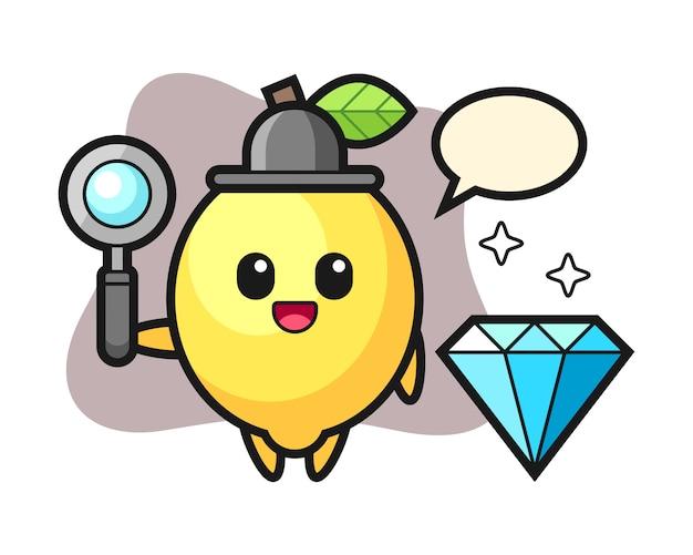 Illustratie van citroenkarakter met een diamant