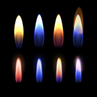 Illustratie van close-up brandende veelkleurige vlam van gas, zink, kalium, strontium, natrium en koper, details van vuur op zwarte achtergrond