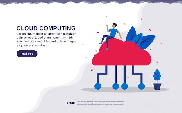 Illustratie van cloud computing en internet van dingen met mensen. illustratie voor bestemmingspagina, sociale media-inhoud, reclame.