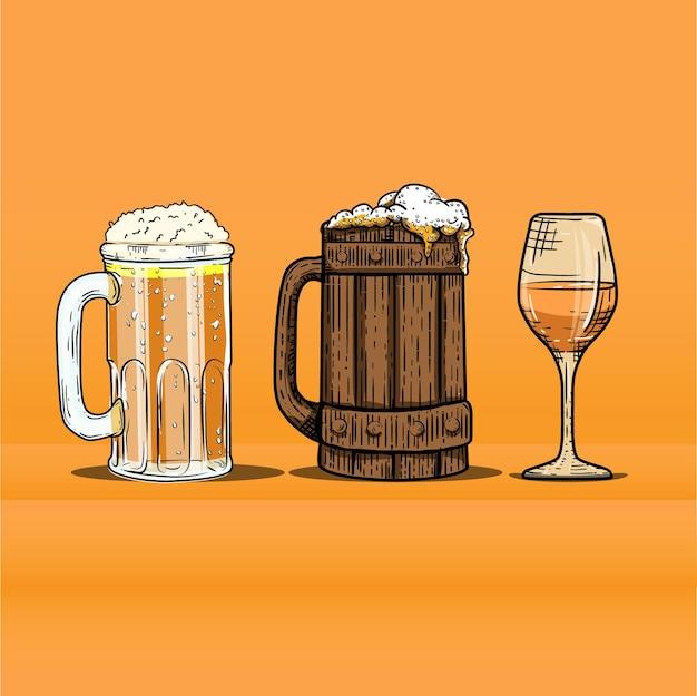 Illustratie van collectie glas bier gravure stijl