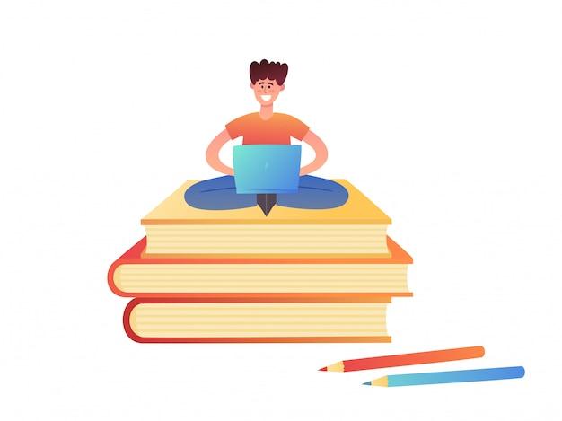 Illustratie van concept online onderwijs op wit wordt geïsoleerd.