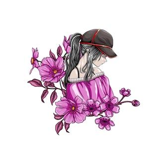 Illustratie van cool meisje met een hoed