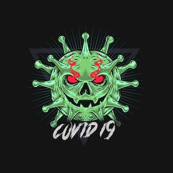 Illustratie van corona- en covid-19-virussen