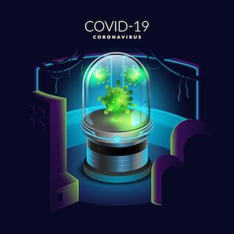 Illustratie van coronavirus is geïncubeerd in een buis