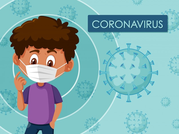 Illustratie van coronavirus met jongen die masker draagt