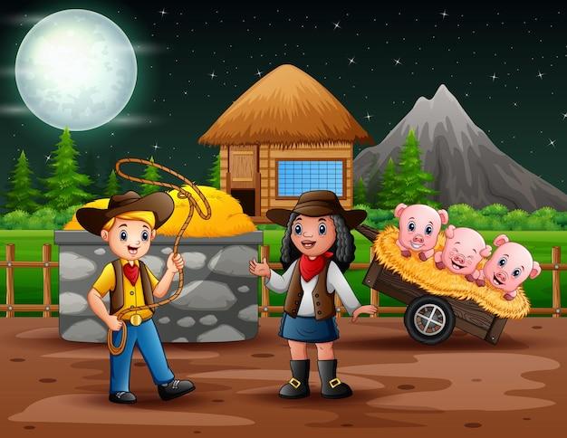 Illustratie van cowboy en veedrijfster in de boerderij 's nachts