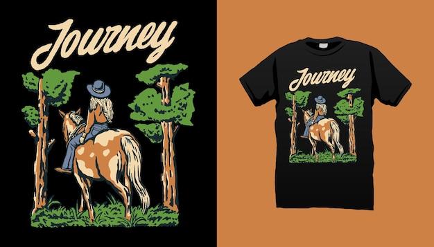 Illustratie van cowgirl journey