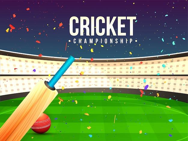 Illustratie van cricket bat en bal