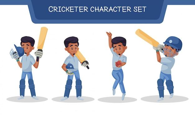 Illustratie van cricketer character set