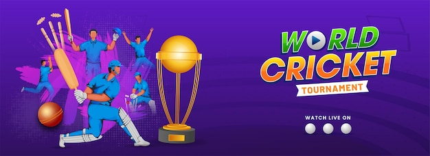 Illustratie van cricketspelers in actie poseren met gouden