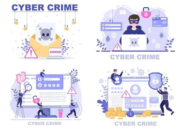 Illustratie van cybercriminaliteit phishing het stelen van digitale gegevens, apparaatsysteem, wachtwoord en bankdocument van de computer