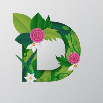 Illustratie van d-alfabet gemaakt door bloemen
