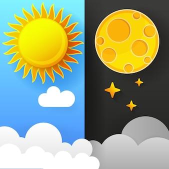 Illustratie van dag en nacht. dag nacht concept, zon en maan