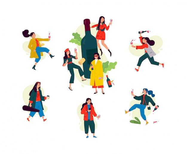 Illustratie van dansende meisjes rond een fles wijn. vrouwen vieren de vakantie, hebben plezier en ontspannen.