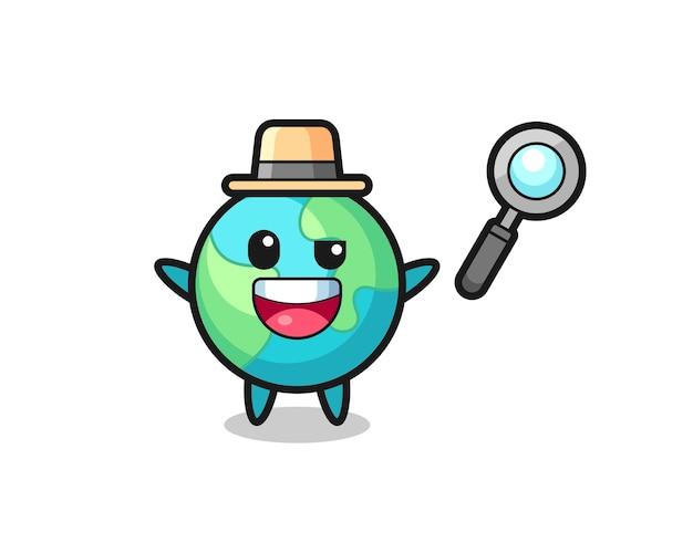 Illustratie van de aardemascotte als detective die erin slaagt een zaak op te lossen, schattig stijlontwerp voor t-shirt, sticker, logo-element