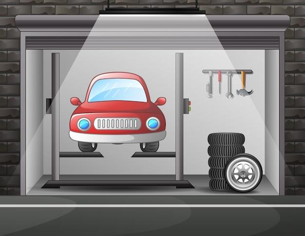 Illustratie van de autodienst en reparatie