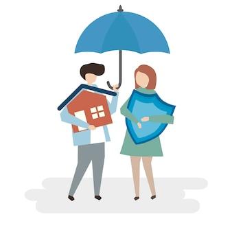 Illustratie van de bescherming van de huisverzekering