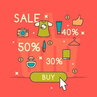 Illustratie van de beste verkoop in cartoon-stijl met t-shirt. room. parfum hand en verschillende producten.