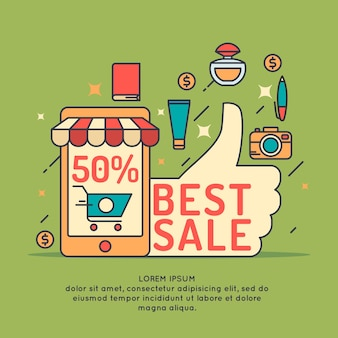 Illustratie van de beste verkoop in cartoon-stijl met telefoon, winkelwagentje, hand en verschillende producten.