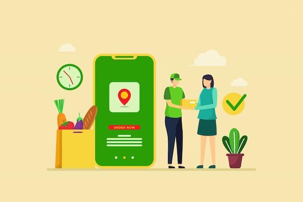 Illustratie van de bestelling van de voedsellevering met platte ontwerpconcept